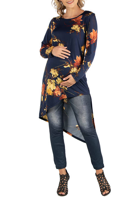24seven Comfort Apparel Maternity Long Sleeve Floral Print