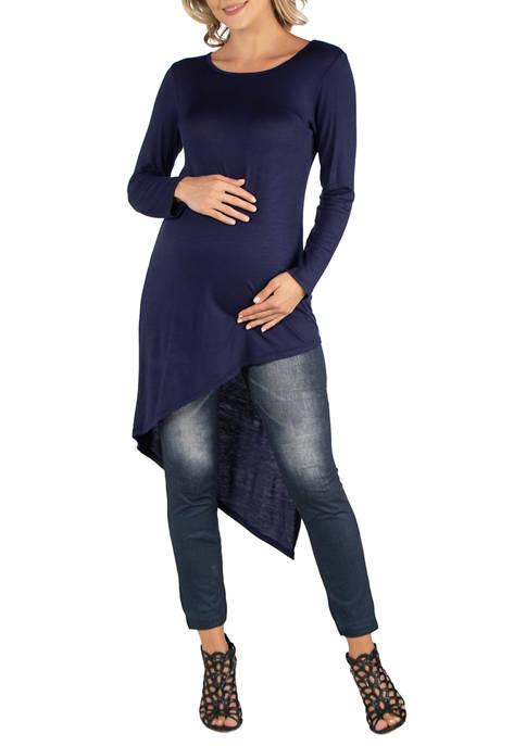 Maternity Full Length Long Sleeve Asymmetric Hem Top