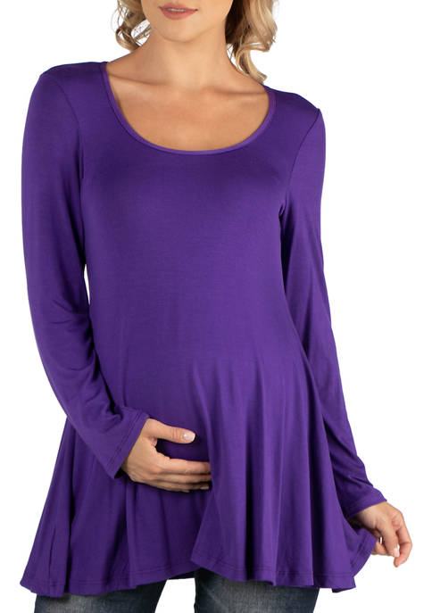 24seven Comfort Apparel Maternity Long Sleeve Solid Color