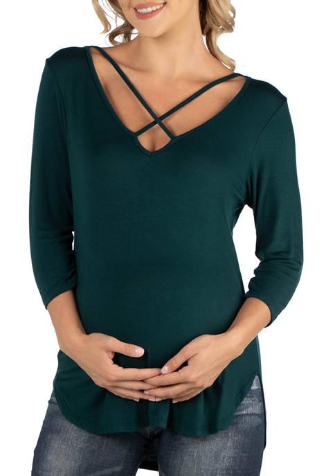 Maternity V-Neck 3/4 Sleeve Strappy Tunic Top