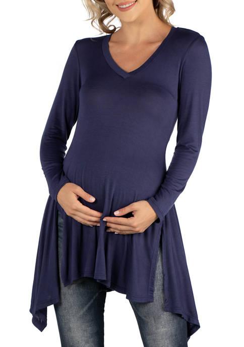 24seven Comfort Apparel Maternity Long Sleeve Side Slit