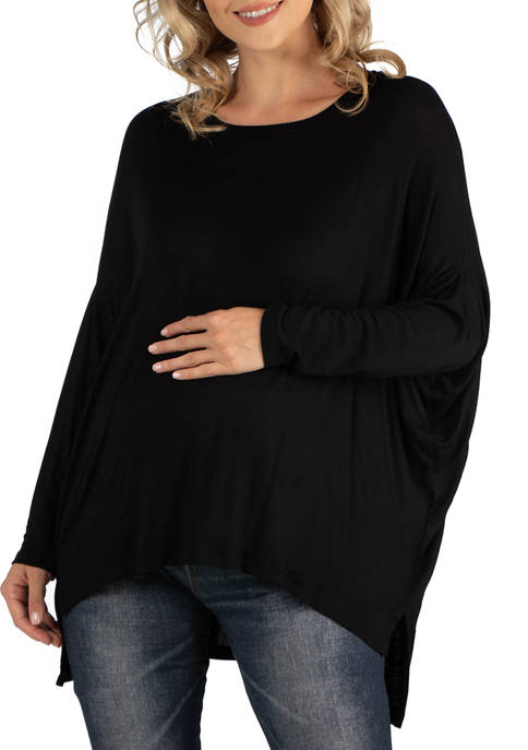 24seven Comfort Apparel Maternity Oversized Long Sleeve Dolman