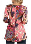 Maternity Blush Floral Long Sleeve Henley Tunic Top