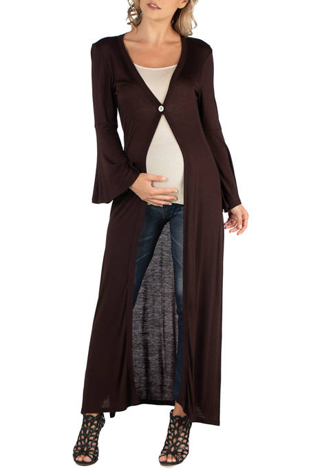 24seven Comfort Apparel Maternity Womens Long Sleeve Maxi