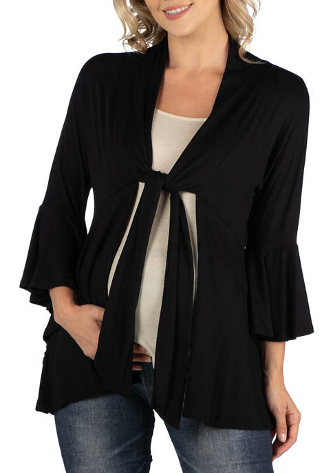 24seven Comfort Apparel Maternity 3/4 Sleeves with Tie