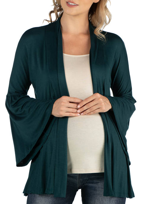 24seven Comfort Apparel Maternity Long Flared Sleeve Open