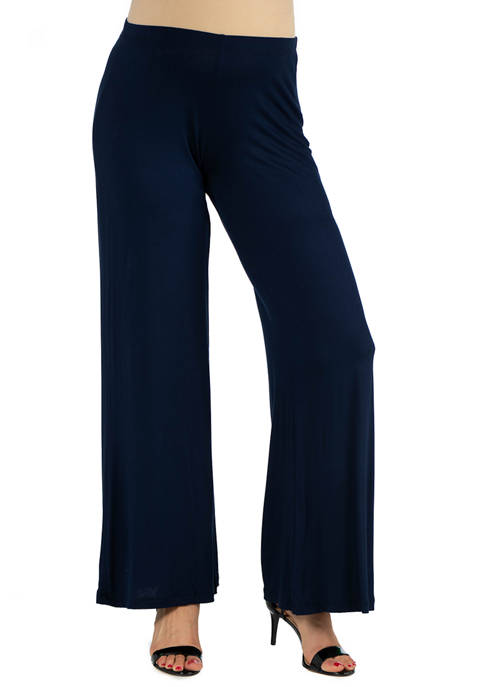 24seven Comfort Apparel Maternity Solid Color Palazzo Pants
