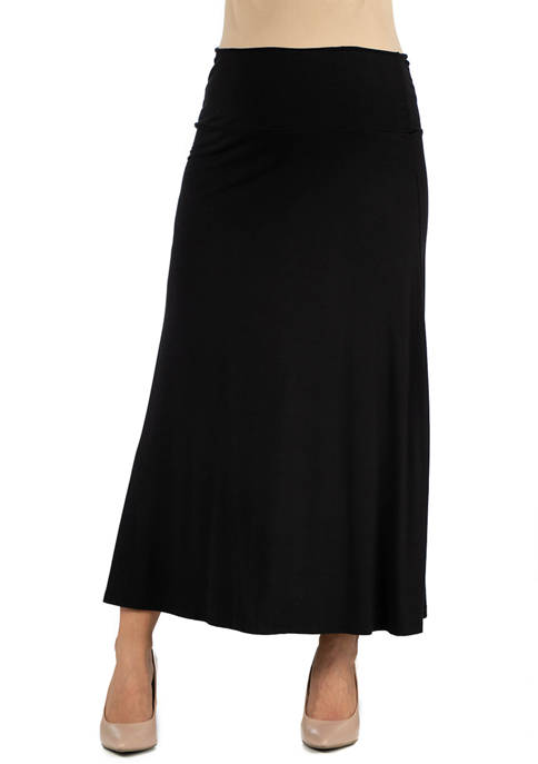 Maternity Womens Elastic Waist Solid Color Maxi Skirt