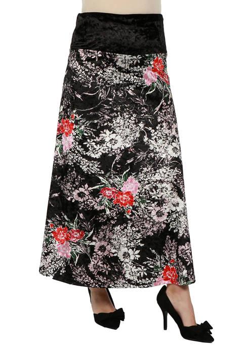 Maternity Floral Print Black Velvet Maxi Skirt