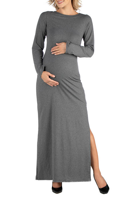 24seven Comfort Apparel Womens Maternity Form Fitting Long
