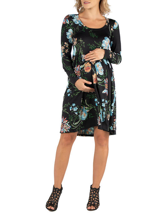 24seven Comfort Apparel Womens Maternity Floral Knee Length