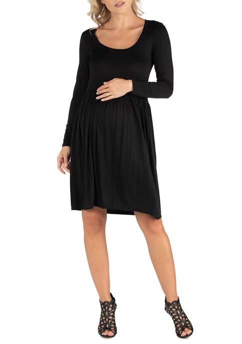 24seven Comfort Apparel Womens Maternity Knee Length Pleated