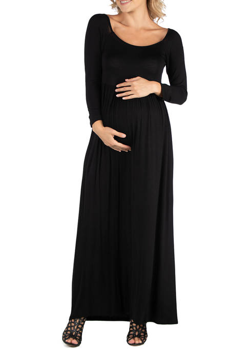 24seven Comfort Apparel Womens Maternity Long Sleeve Pleated