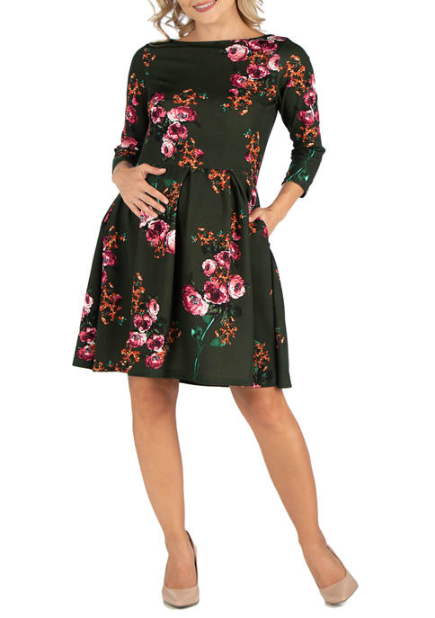 24seven Comfort Apparel Maternity Green Floral Fit and