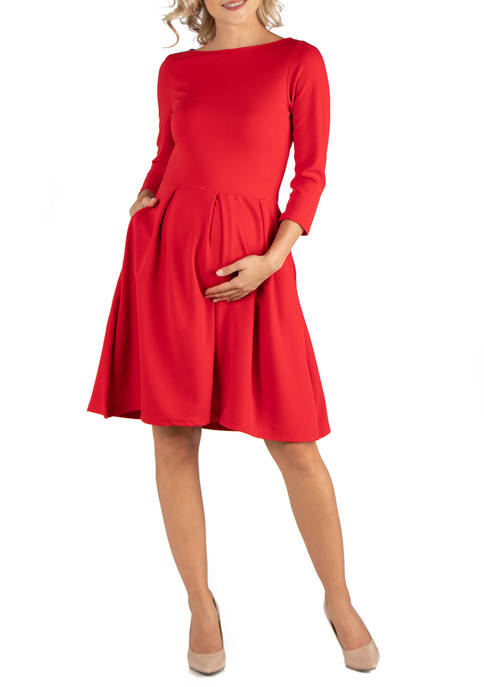 24seven Comfort Apparel Maternity Knee Length Fit and