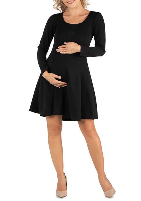24seven Comfort Apparel Maternity Simple Long Sleeve Knee