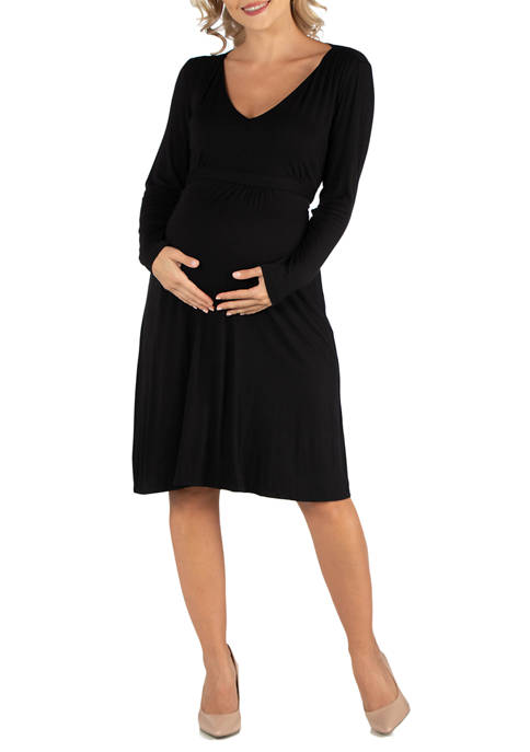 24seven Comfort Apparel Maternity V Neck Long Sleeve