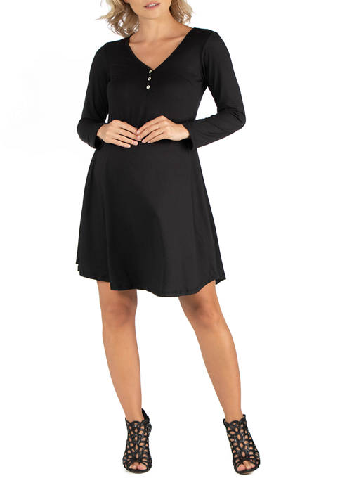 Maternity  Henley Style Long Sleeve  Dress