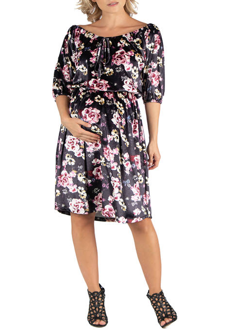 24seven Comfort Apparel Maternity Floral Off Shoulder Knee