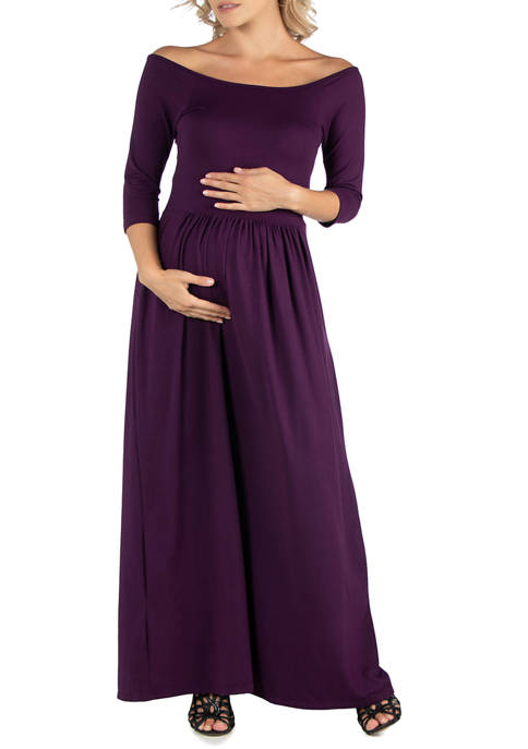 24seven Comfort Apparel Maternity Off Shoulder Pleated Waist