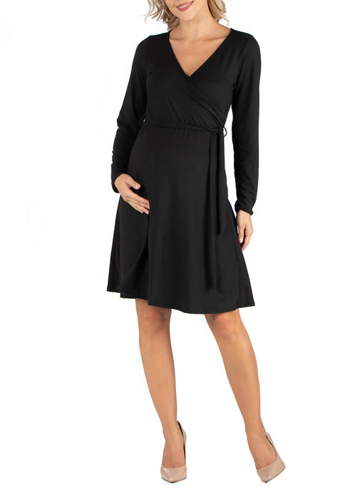 24seven Comfort Apparel Maternity Knee Length Long Sleeve