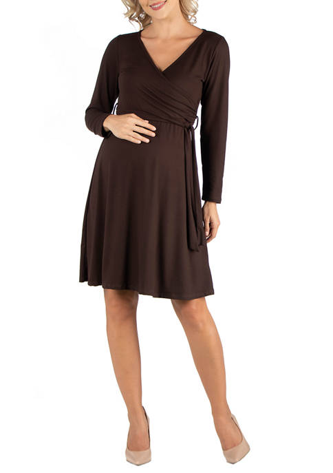 24seven Comfort Apparel Maternity Knee Length Long Sleeve