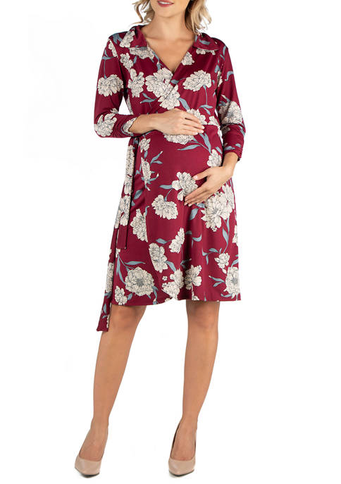 24seven Comfort Apparel Maternity Collared Burgundy Floral Print