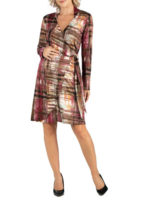 24seven Comfort Apparel Maternity Plaid Print Knee Length