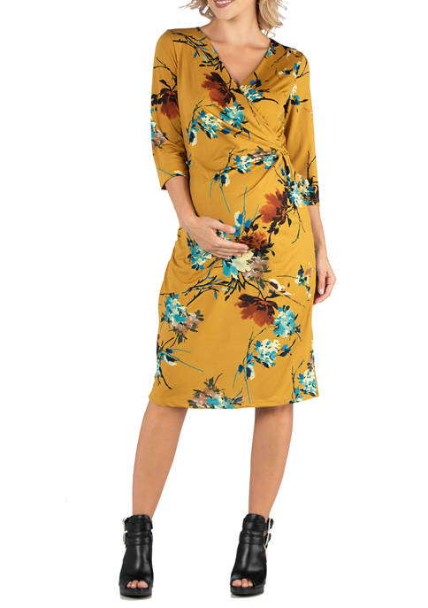 24seven Comfort Apparel Maternity Yellow Print 3/4 Sleeve