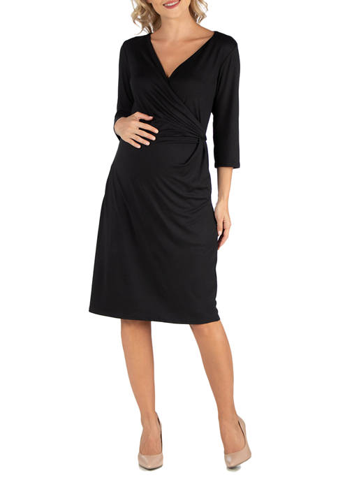 24seven Comfort Apparel Maternity 3/4 Sleeve Knee Length