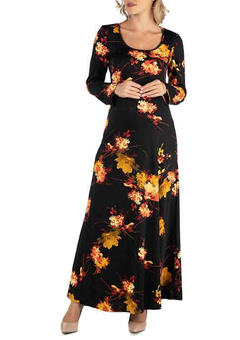 24seven Comfort Apparel Maternity Fall Floral Long Sleeve