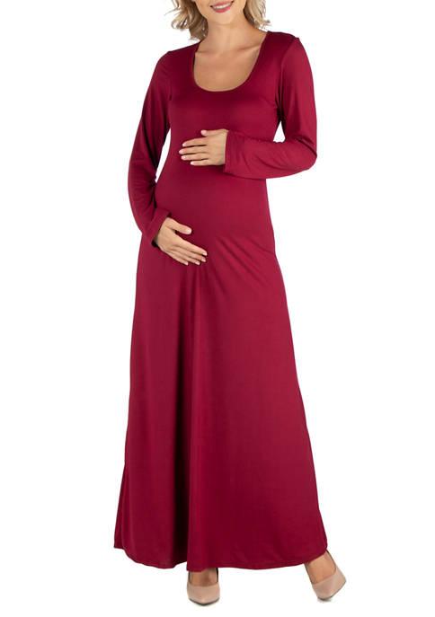 24seven Comfort Apparel Maternity Long Sleeve T-Shirt Maxi