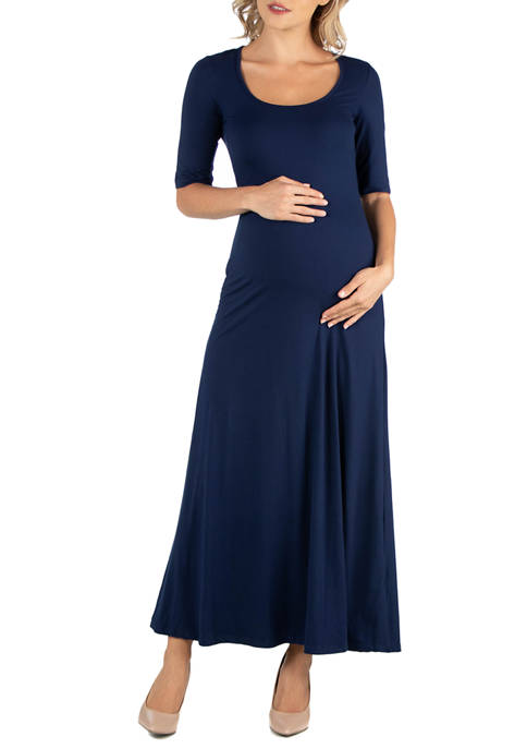 24seven Comfort Apparel Maternity Casual Maxi Dress with