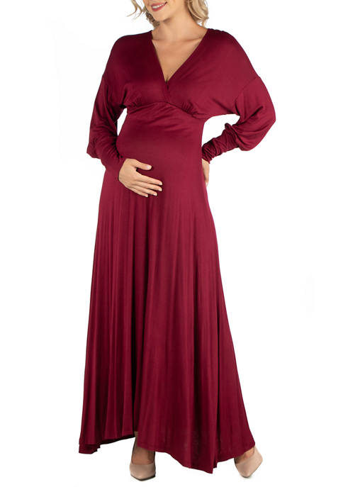 24seven Comfort Apparel Maternity Formal Long Sleeve Maxi