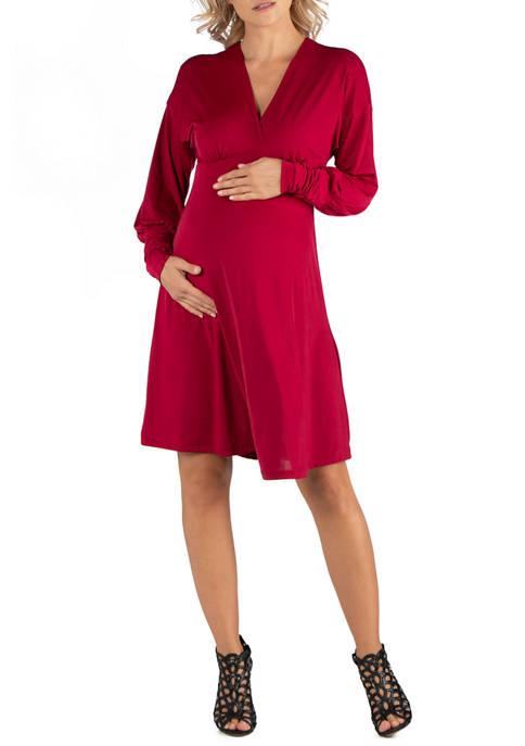 24seven Comfort Apparel Maternity Long Sleeve V Neck