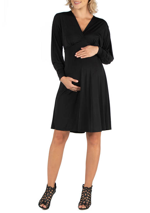 24seven Comfort Apparel Maternity Ruffle Neck Black Long
