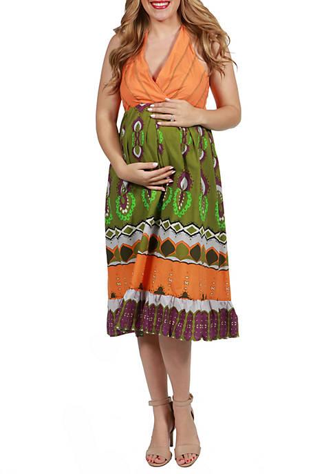 24seven Comfort Apparel Maternity Midi Halter Summer Dress