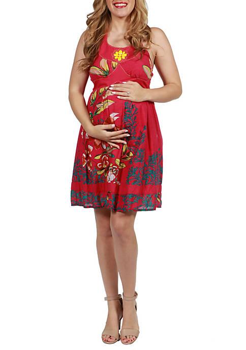 24seven Comfort Apparel Maternity Knee Length Floral Halter
