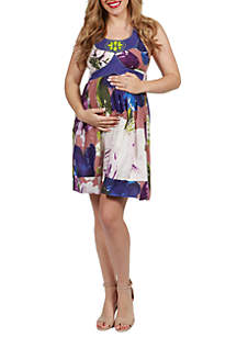 24seven Comfort Apparel Maternity Beaded Knee Length Halter Dress
