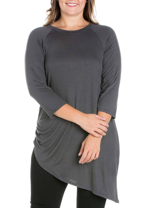 24seven Comfort Apparel Plus Size Asymmetrical 3/4 Sleeve