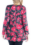 Plus Size Floral Long Sleeve Scoop Neck Swing Top