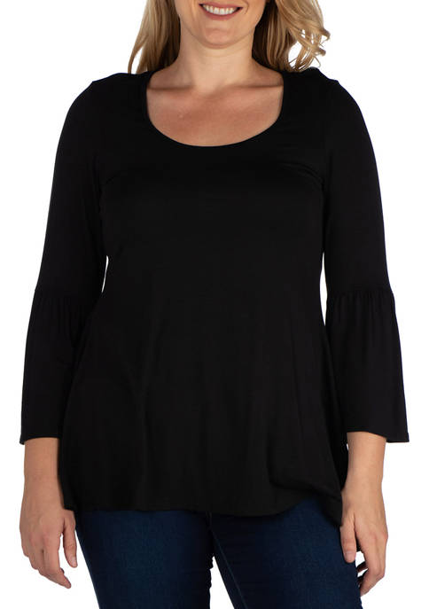 24seven Comfort Apparel Plus Size Long Bell Sleeve