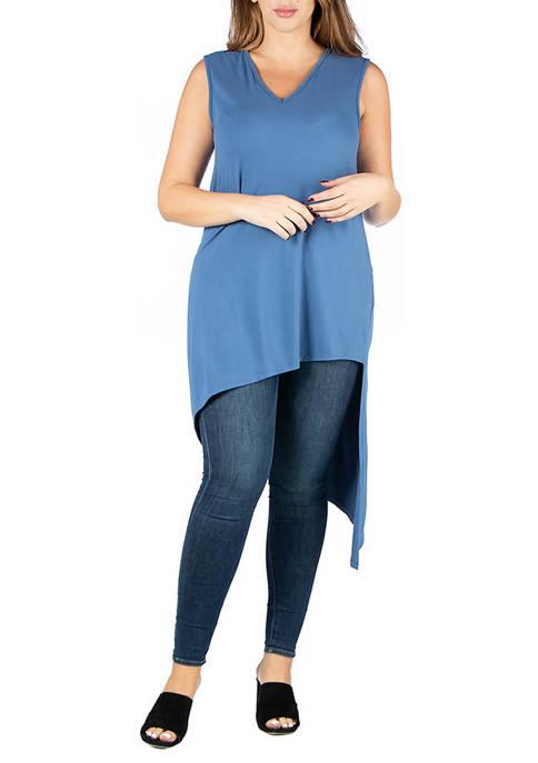 24seven Comfort Apparel Plus Size Asymmetric Tunic
