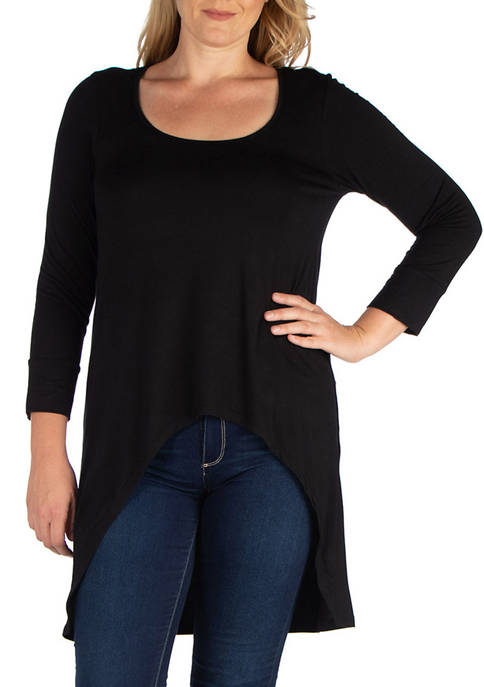 24seven Comfort Apparel Plus Size 3/4 Sleeve High