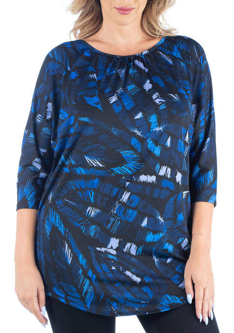24seven Comfort Apparel Plus Size 3/4 Sleeve Blue