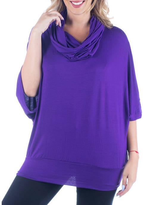 24seven Comfort Apparel Plus Size Oversized Cowl Neck
