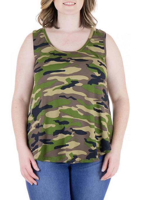Plus Size Green Camo Print Round Hem Razorback Tank Top