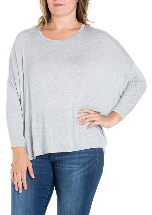 24seven Comfort Apparel Plus Size Oversized Long Sleeve