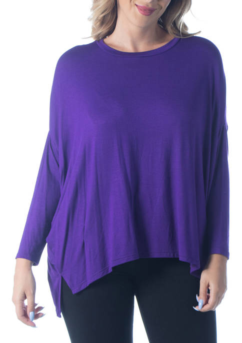 24seven Comfort Apparel Plus Size Oversized Long Sleeve