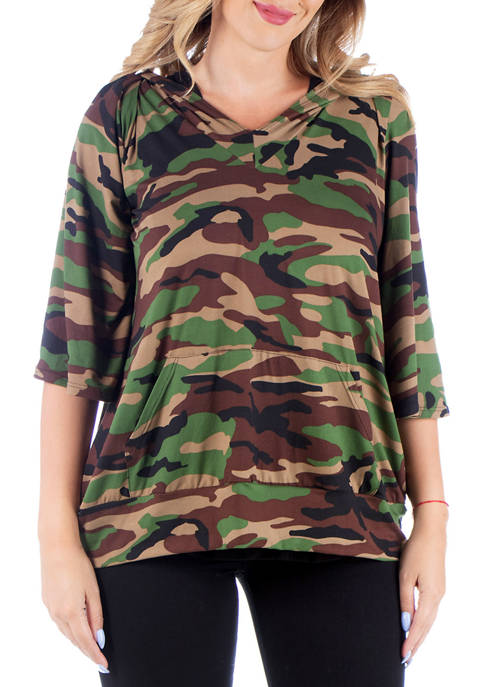 Plus Size Camouflage Print Oversized Pocket Hoodie Top